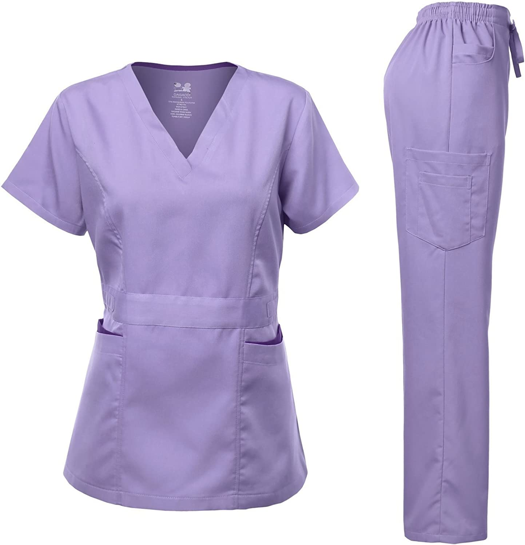 Dagacci Medical Uniform Womens Scrubs Set Stretch Ultra Soft Contrast Pocket