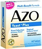 AZO Yeast Plus – Yeast Infection Symptom Relief*: Itching & Burning  – Vaginal Symptom Relief*: Occasional Odor & Discharge – Multi-Benefit Formula – 60 Tablets