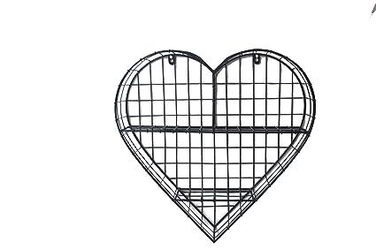 Amazon.com: BW Decor Metal Craft Heart Style Wire Mesh Wall Shelf ...