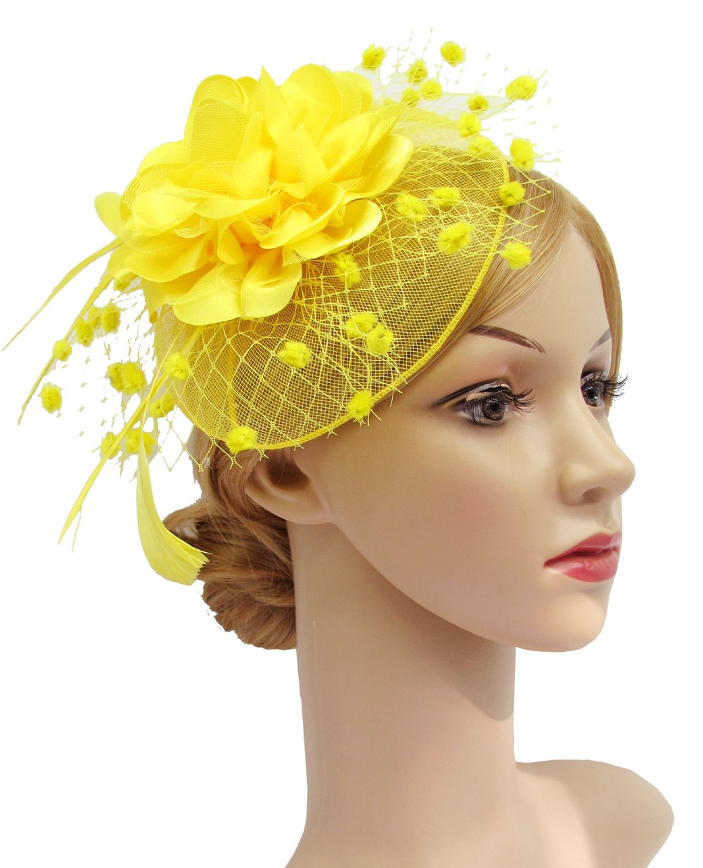 K.CLASSIC Fascinators Hats for Womens 50s Headwear with Veil Flower Cocktail Wedding Tea Party Hat(A-Yellow)
