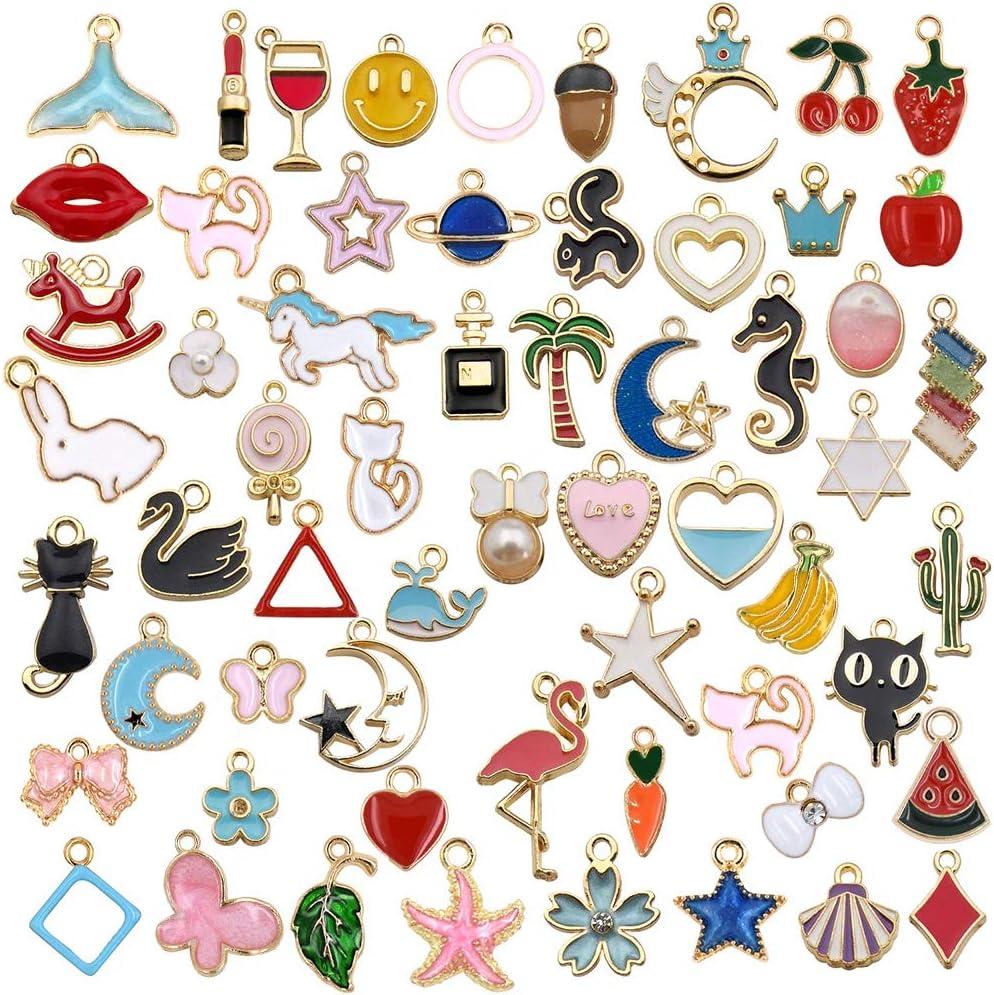 LABOTA 60 piezas Charm Colgante Esmalte Accesorios De Aleación DIY para de la joyería de bricolaje, llaveros, pulseras, collares, pendientes