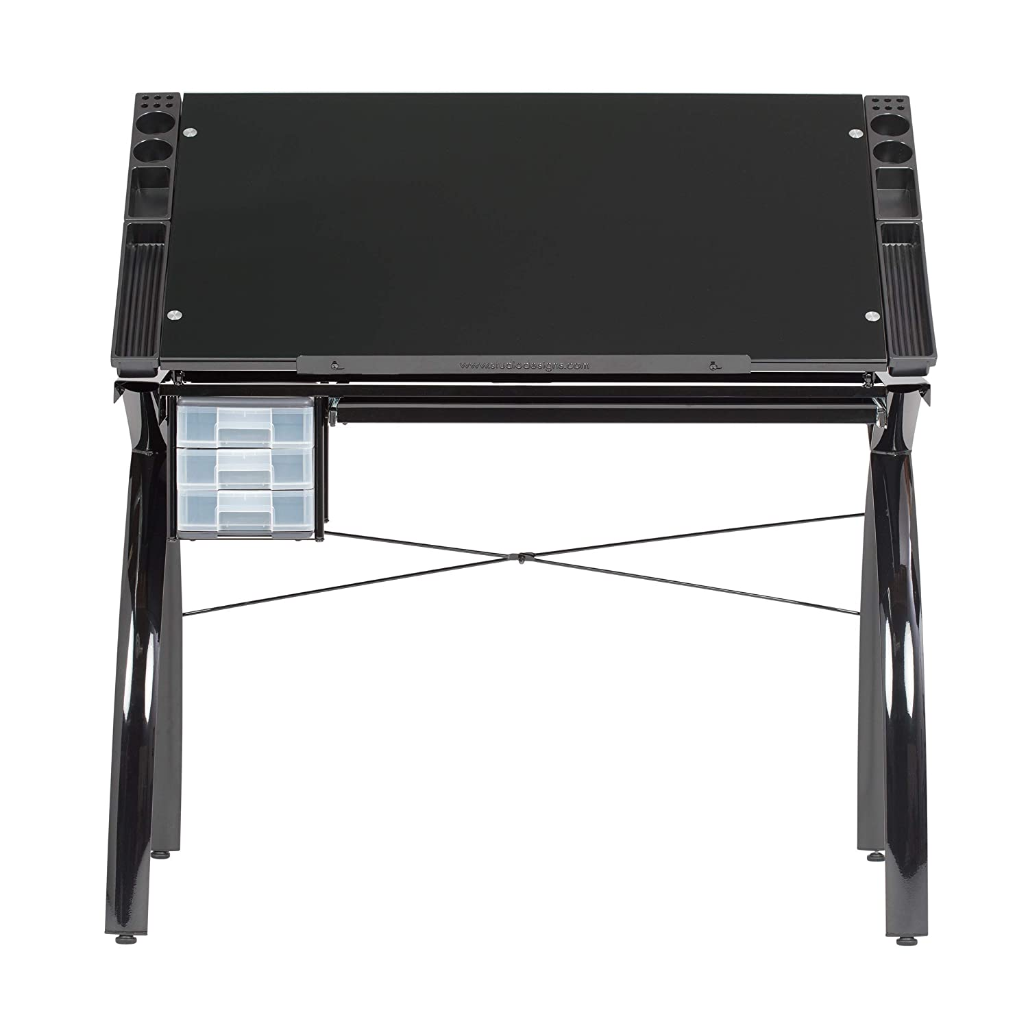 Studio Designs Futura Modern Metal and Glass Hobby Drafting Table Craft Drawing Desk with 38W x 24D Angle Adjustable Top in Black // Black Glass