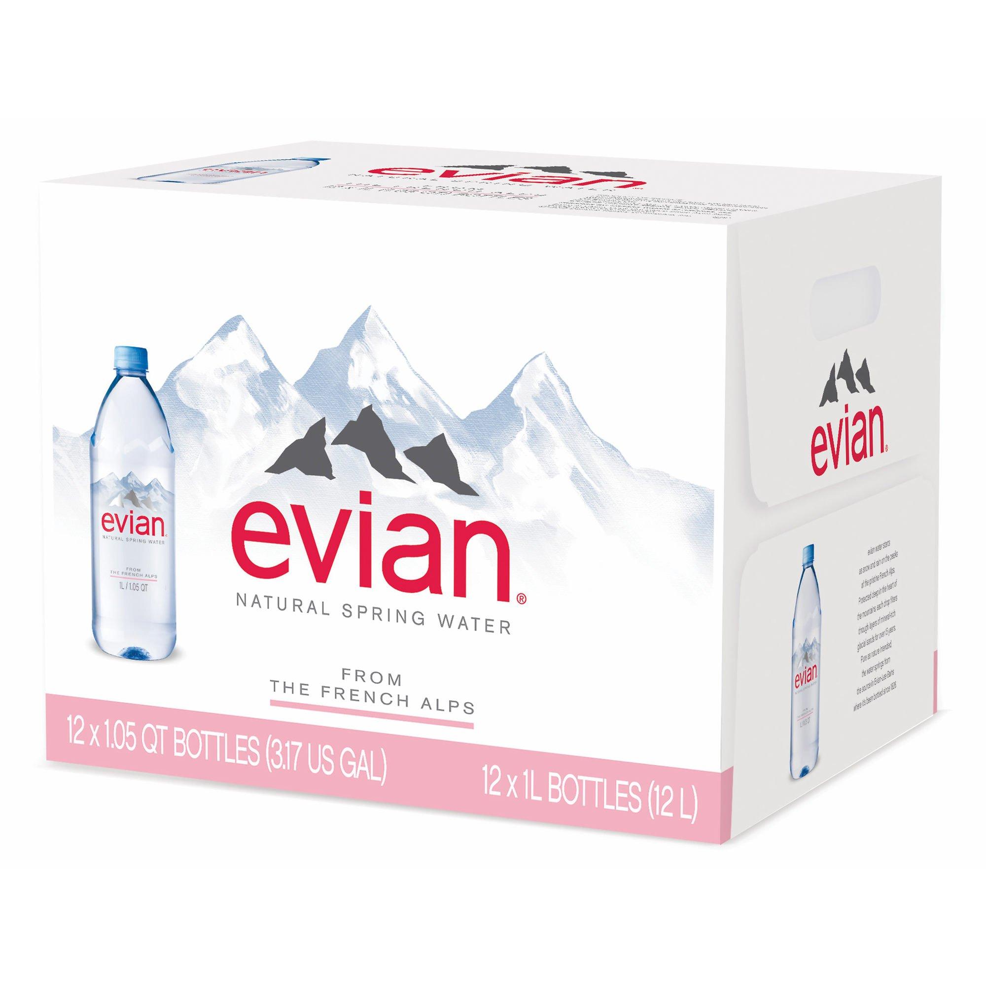 Evian Natural Spring Water, 12 pk./1L (pack of 6)