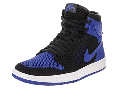 check out aa10c 815c6 Zapatillas Hombre NIKE Air Jordan 1 Retro High Flyknit GS en Tejido Negro y  Rojo 919702-001  Amazon.es  Zapatos y complementos