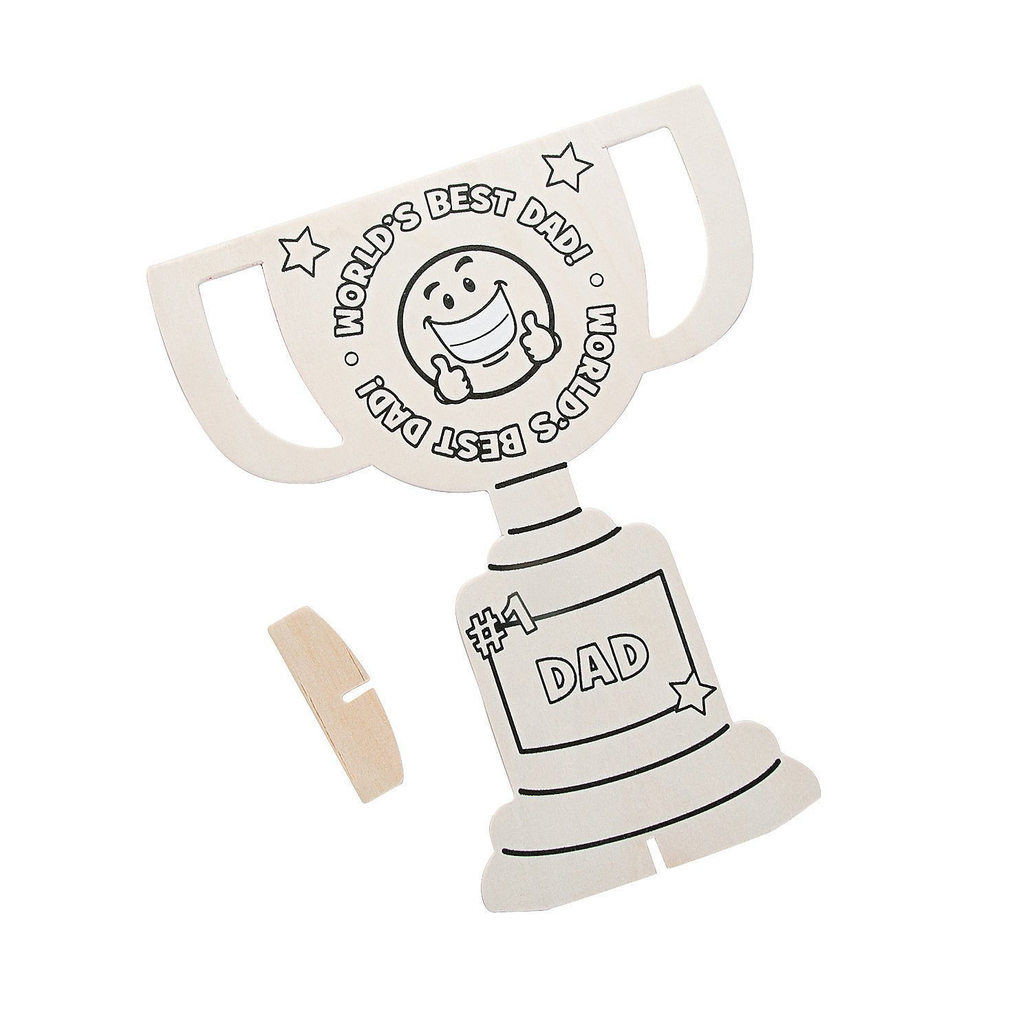 color your own father's day trophy