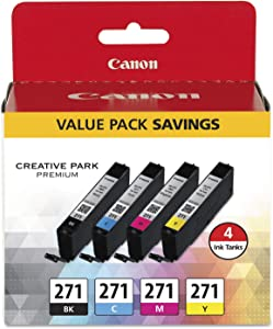 Canon 0390C005 (CLI-271) Ink Cartridge, Black/Cyan/Magenta/Yellow - in Retail Packaging