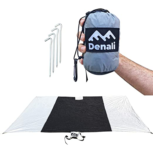 "Waterproof Outdoor Blanket For Beach, Backyard or the Back Country. Perfect Rainfly or Tarp (XL 60"" x 90"") The Ideal Camping and Hiking Accessories Includes Durable Metal Stakes and Attached Stuff Bag"