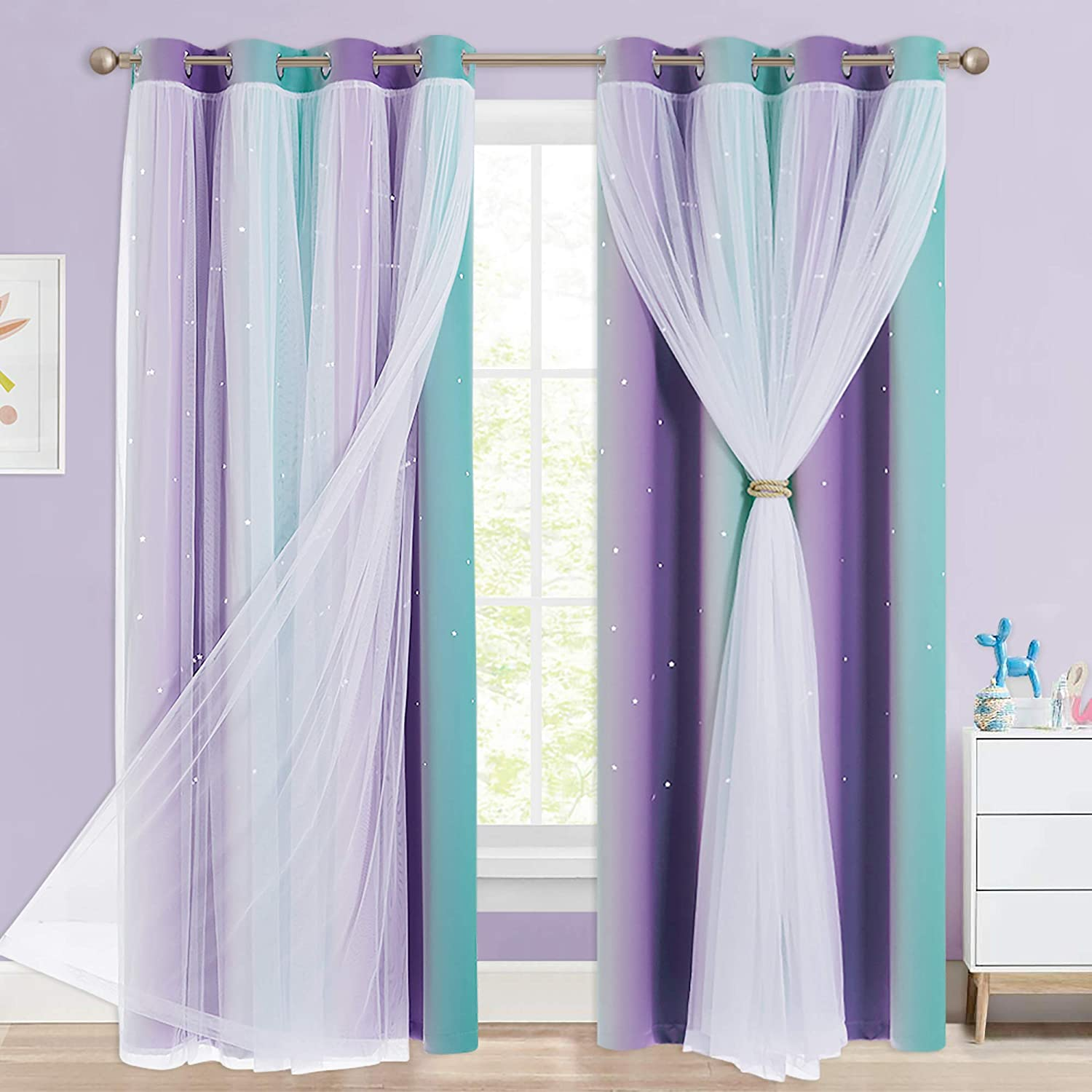 NICETOWN Star Curtains for Girls Bedroom, Mermaid Theme Nursery Decor for Girls, Kids Room/Living Room Mix & Match Sheer Attached to Star Cut Curtain Panels (Teal & Purple, 2 Pieces = W104 x L95)