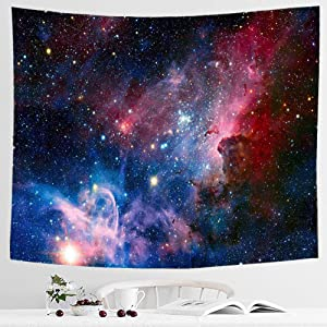 IcosaMro Space Tapestry Red Galaxy Stars Night Sky Outerspace Wall Decor Hanging Wall Art (Hemmed Edges) for Boys Girls Bedroom Living Room College Dorm, 51x60 Inch