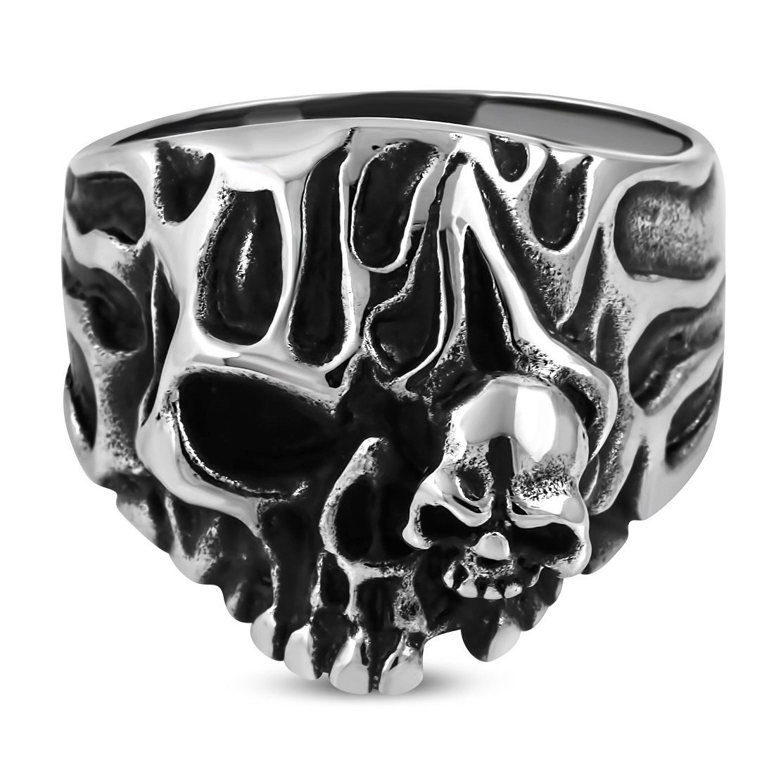 Stainless Steel 2 Color Flaming Ghost Skull Biker Ring