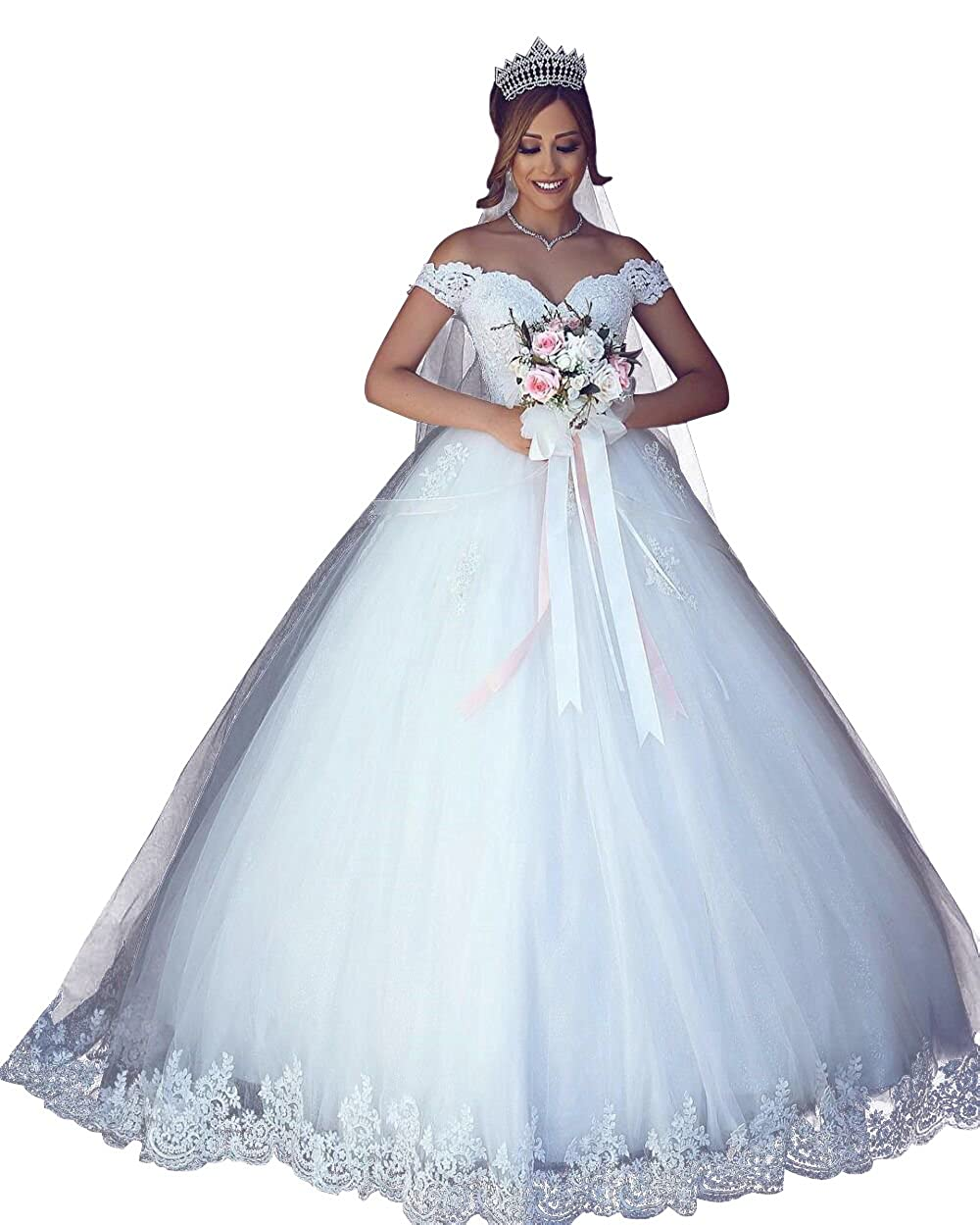Vinbridal 2018 Off Shoulder Ball Gown Wedding Dress Lace Applique