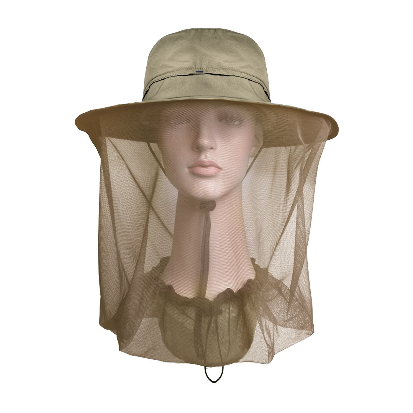 Lenikis Outdoor Sun Protection Hats with Mosquito Head Net Khaki