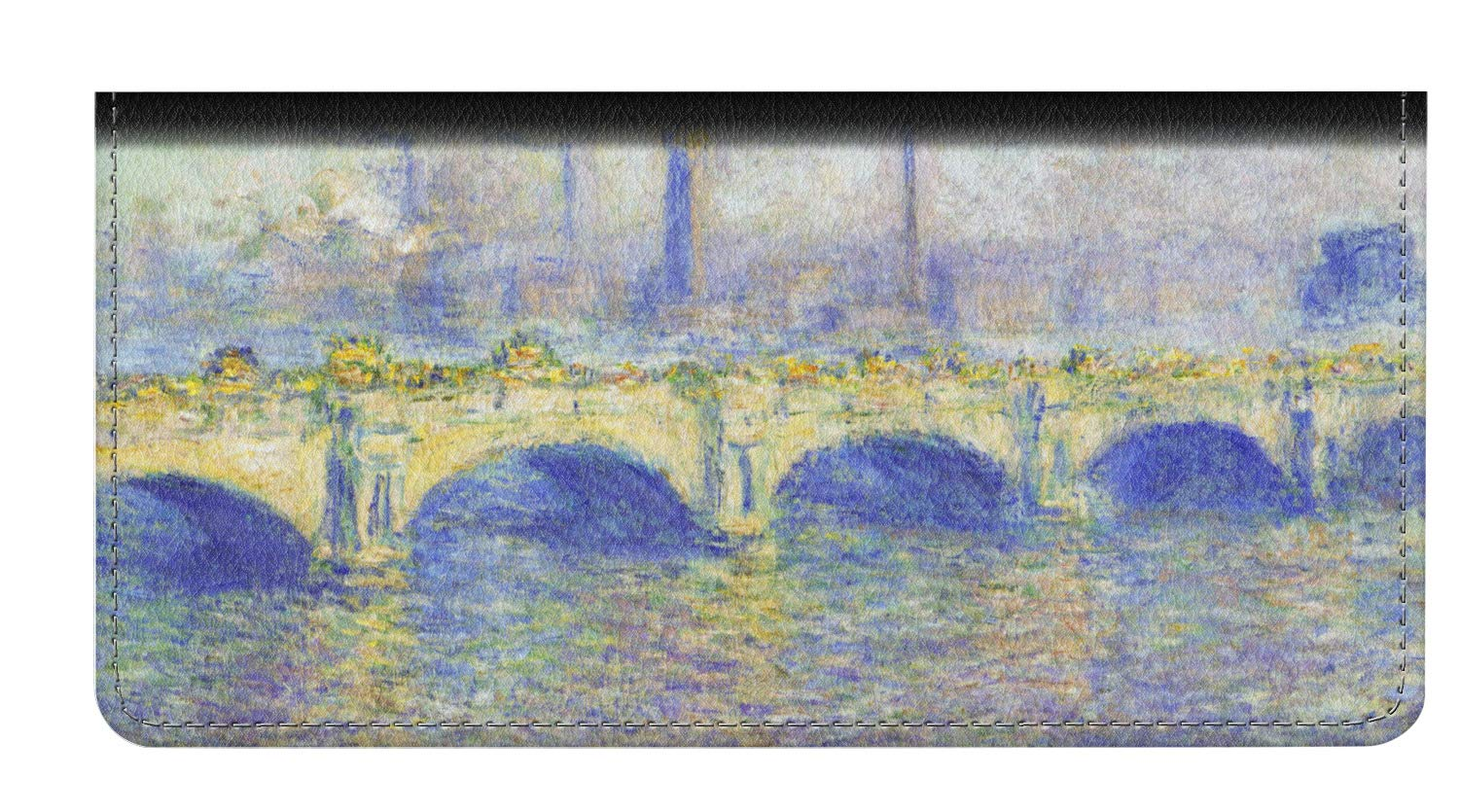 Waterloo Bridge by Claude Monet Genuine Leather Checkbook Cover by YouCustomizeIt