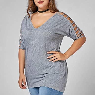 Amazon.com: TOTOD Plus Size Fashion Women Hollow Cotton Out Sleeve T-Shirt V-Neck Blouse Half Casual Tops: Clothing