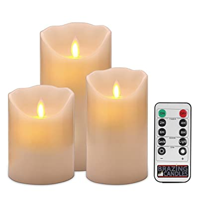 BRAZING CANDLES 3 Pack Pillar Flameless Realistic LED Candles, Ivory, with Remote, 3pc Mixed,4/5/6 inch Tall Moving Flame: Home & Kitchen