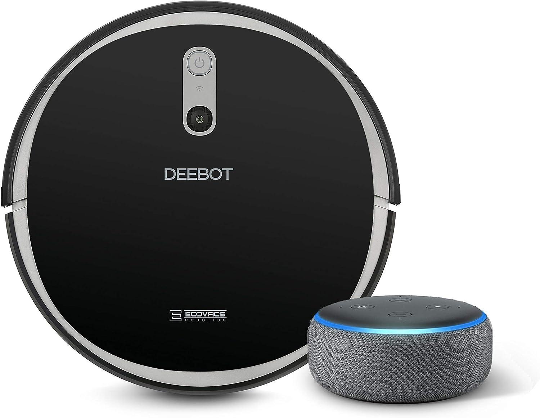 ECOVACS DEEBOT 711 Robot Vacuum Cleaner with Smart Navi 2.0 bundle with Echo Dot (3rd Gen) Charcoal Gray