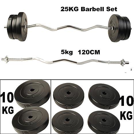 mascarello® 120 cm juego de pesas mancuernas tríceps Curl Bar placa de peso levantamiento de