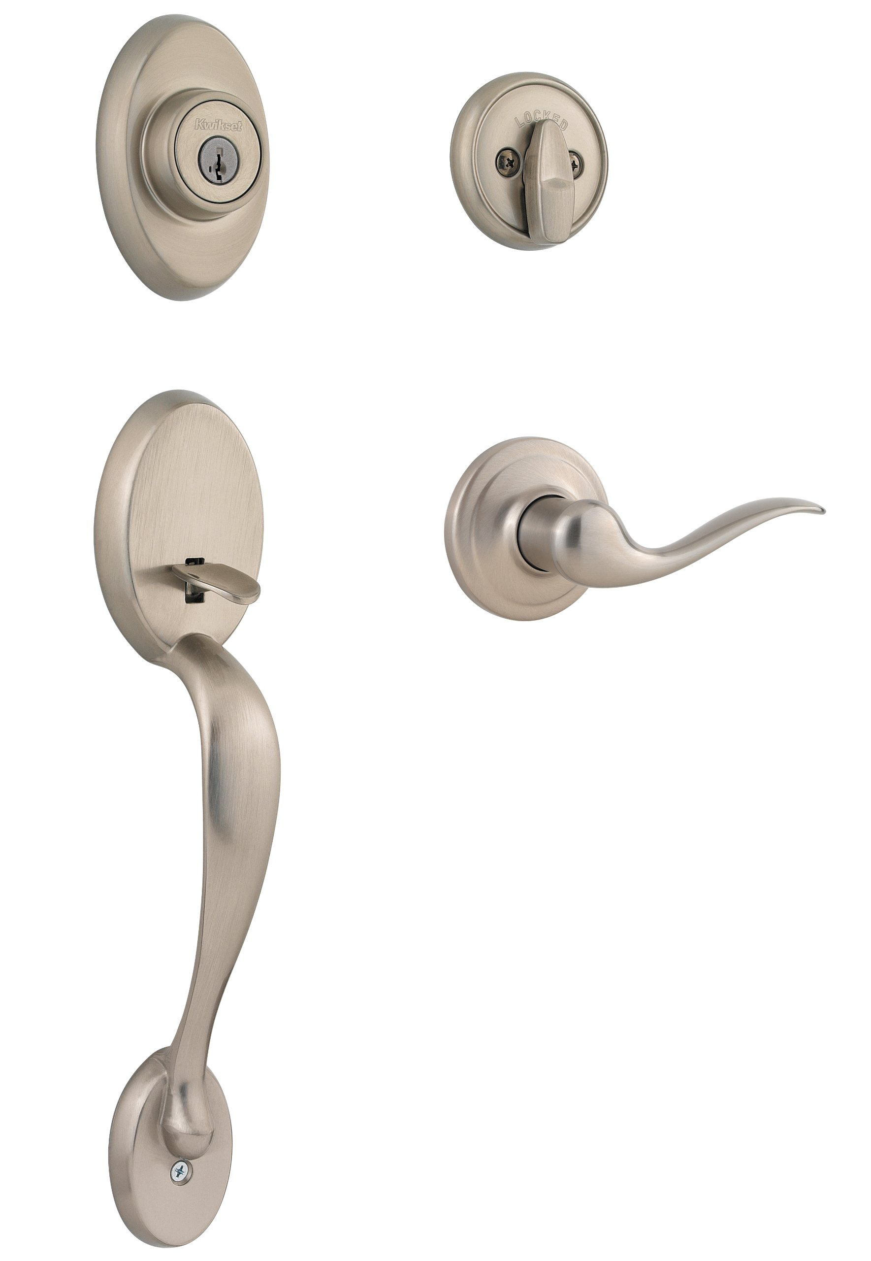 Kwikset Chelsea Single Cylinder Handleset w/Tustin Lever featuring SmartKey in Satin Nickel