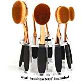 DSCbeauty 10 Holes Oval Makeup Brush Set Holder Toothbrush Makeup Brush Kit Drying Rack Oval Brushes Organizer (Clear)