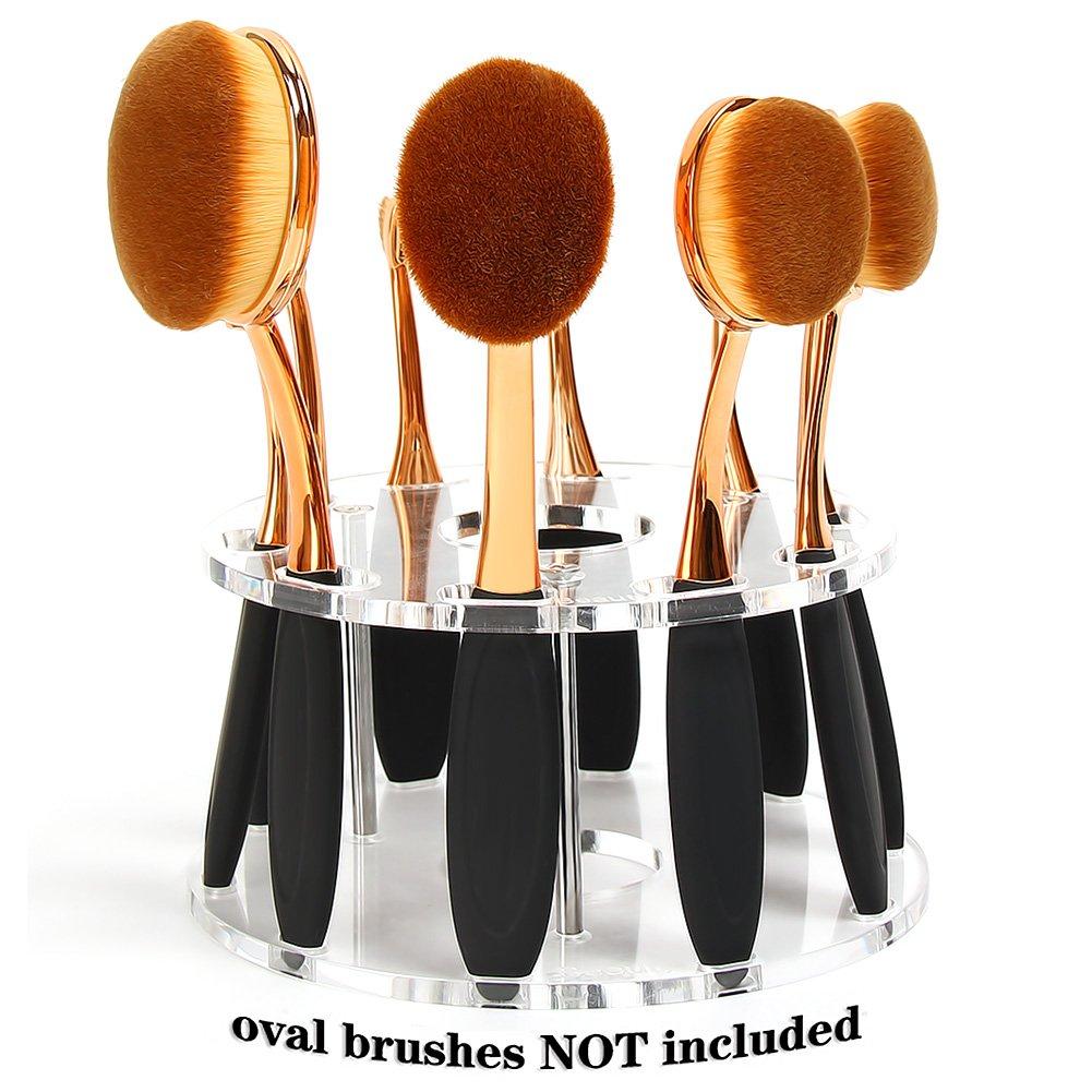 DSCbeauty 10 Holes Oval Makeup Brush Set Holder Toothbrush Makeup Brush Kit Drying Rack Oval Brushes Organizer (Clear)