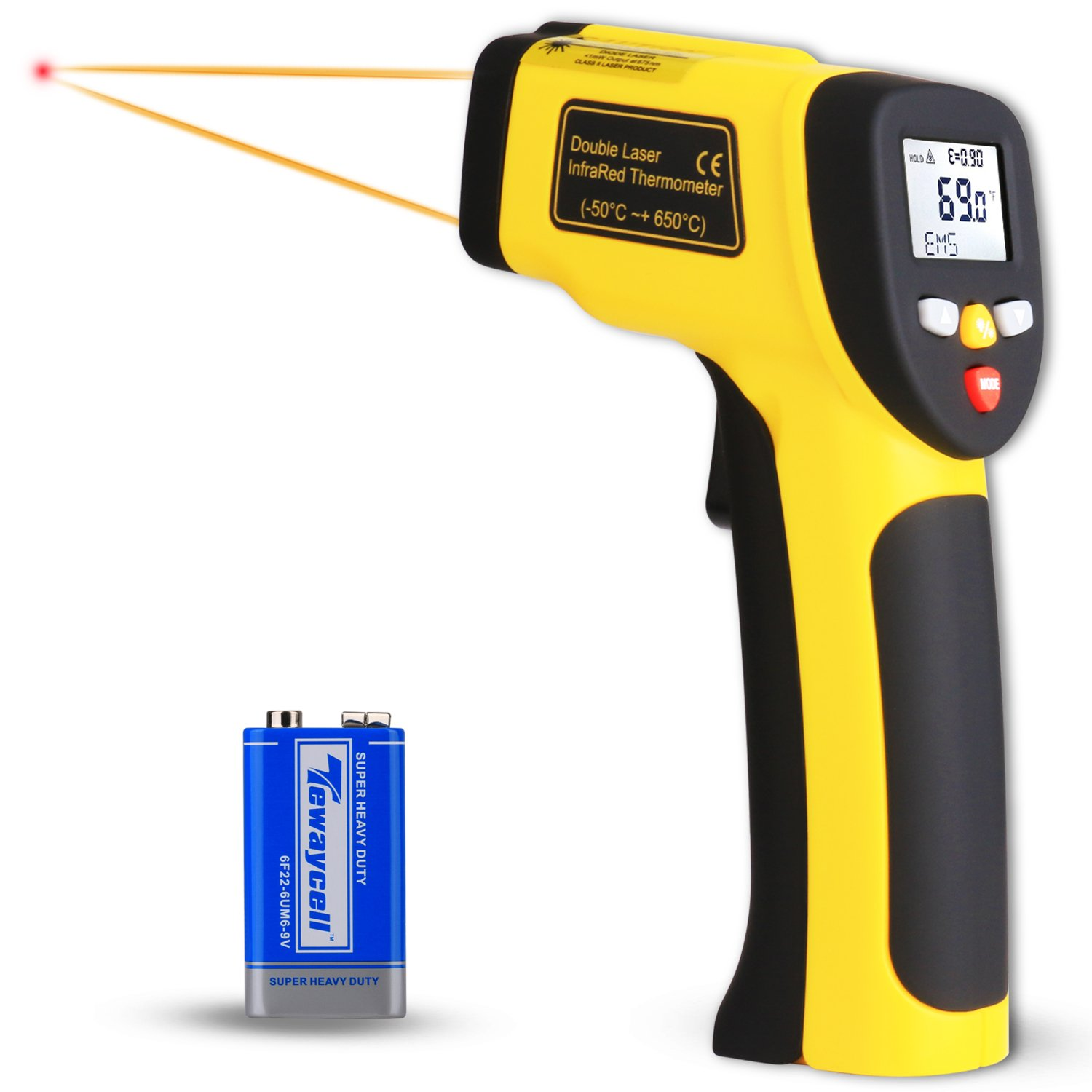 Infrared Thermometer, Venoro Non-Contact Digital IR Dual Laser Temperature Gun -58℉~1202℉ (-50℃~650℃) with MAX/MIN / AVG Display, Adjustable Emissivity for Cooking/Automotive / Industrial (1 Pack)