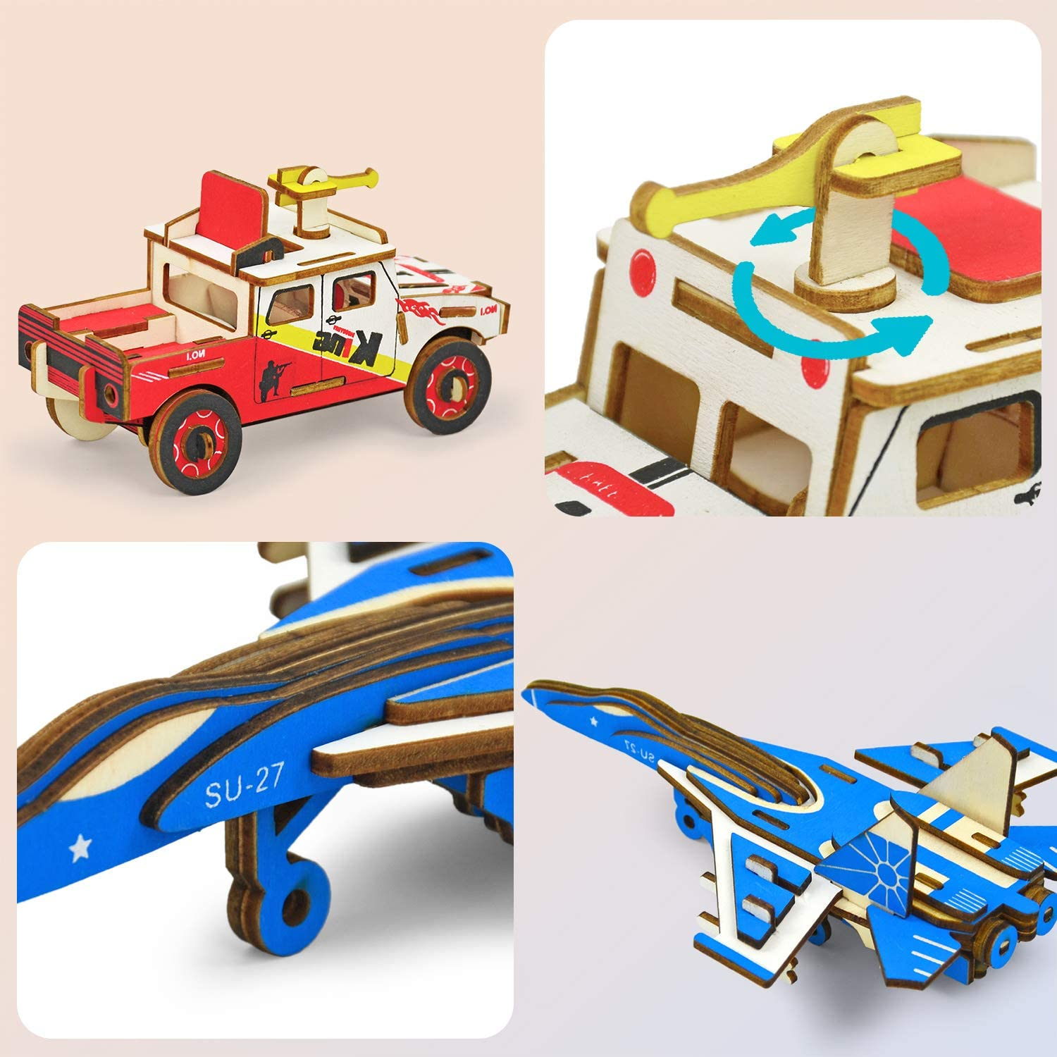 3D Puzzles for Kids Ages 8-10 Years Old Car 44Pcs DIY Craft Set Gifts Fighter 22PCs Simple Mini Wooden Puzzles Set for Boys