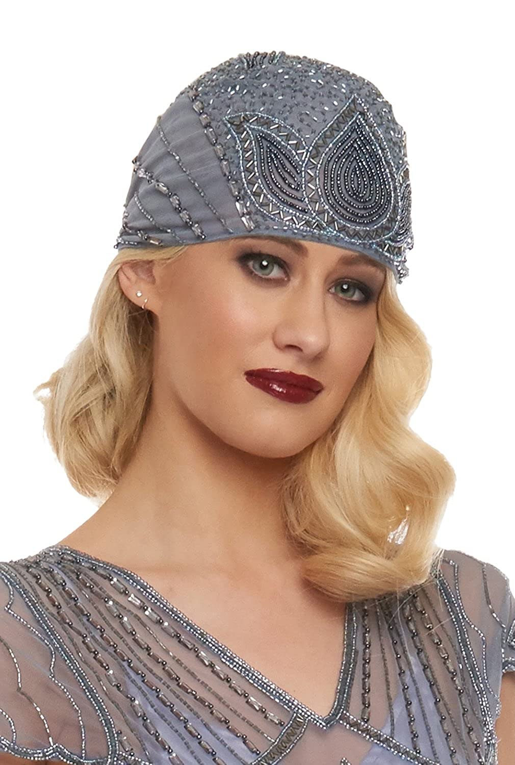 1920s Accessories | Great Gatsby Accessories Guide Lulu Vintage Inspired Flapper Cap in Lilac $33.03 AT vintagedancer.com