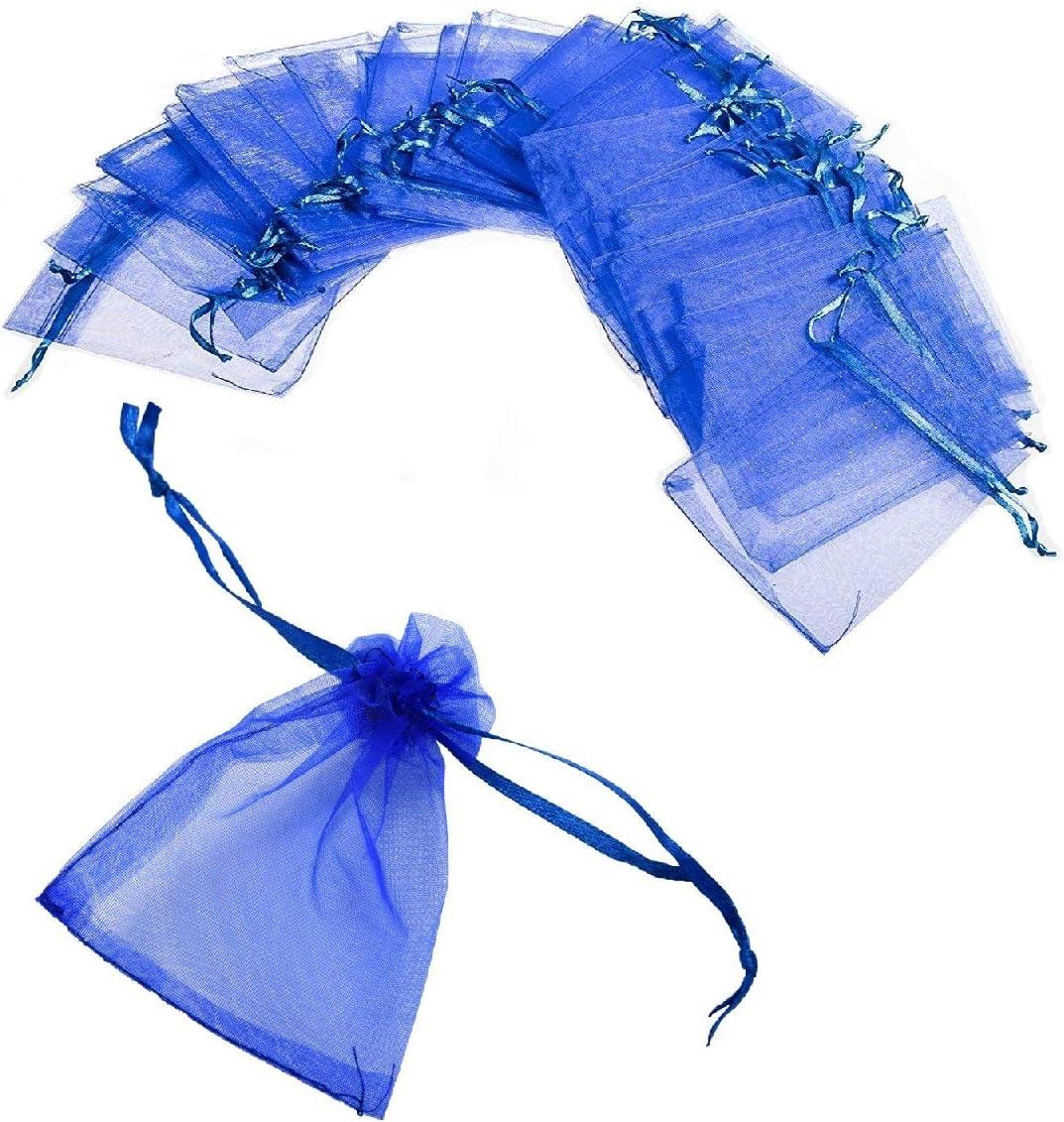 JZK 50 x Sachet Organza Bleu 12* 9cm Pochettes Cadeau Sac