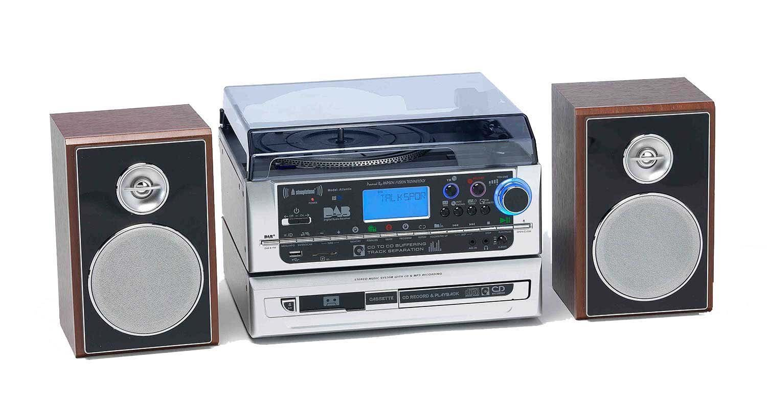 Black // Silver USB Steepletone Atlantic 6 in 1 Music Centre with DAB Radio 3 Speed turntable Tape Cassette /& CD Player with Buffering and Burner