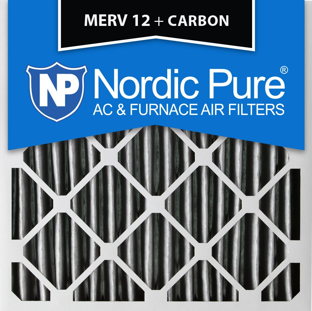 Nordic Pure 24x24x2 MERV 12 Pleated Plus Carbon AC Furnace Air Filters 24 x 24 x 2 3 Piece