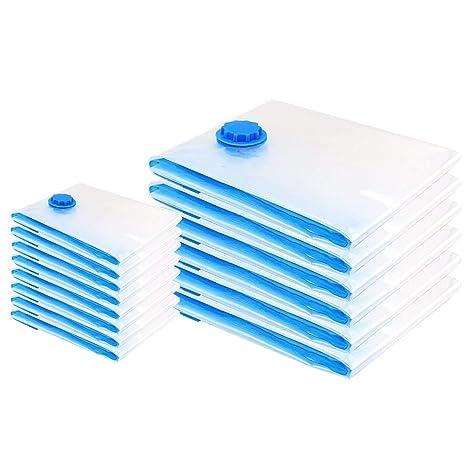[14 Piezas] Bolsas de Almacenaje al Vacío, 80x100 cm (6 ud)+40x60cm (8 ud) Bolsas de Vacio Ahorro de Espacio Almacenaje al Vacío Para Guardar Ropa, ...