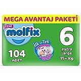 Molfix 3D Bebek Bezi, Xlarge 6 Beden, Mega Avantaj Paketi 104 Adet