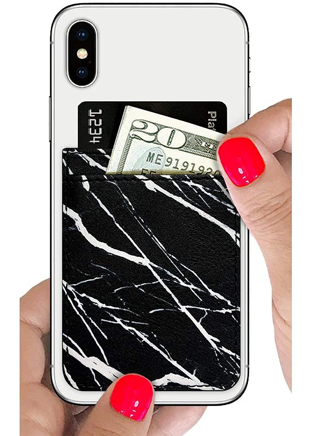 Galaxy and More. iPhone Samsung Apple Slim Card Holder Black Marble Leather Universal fit Stick On Credit Card Wallet iDecoz Phone Pockets