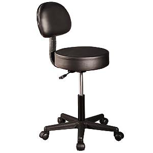 Master Massage Pneumatic Hydrolic Rolling Clinical Spa Tattoo Office Swivel Stool with Backrest, Black