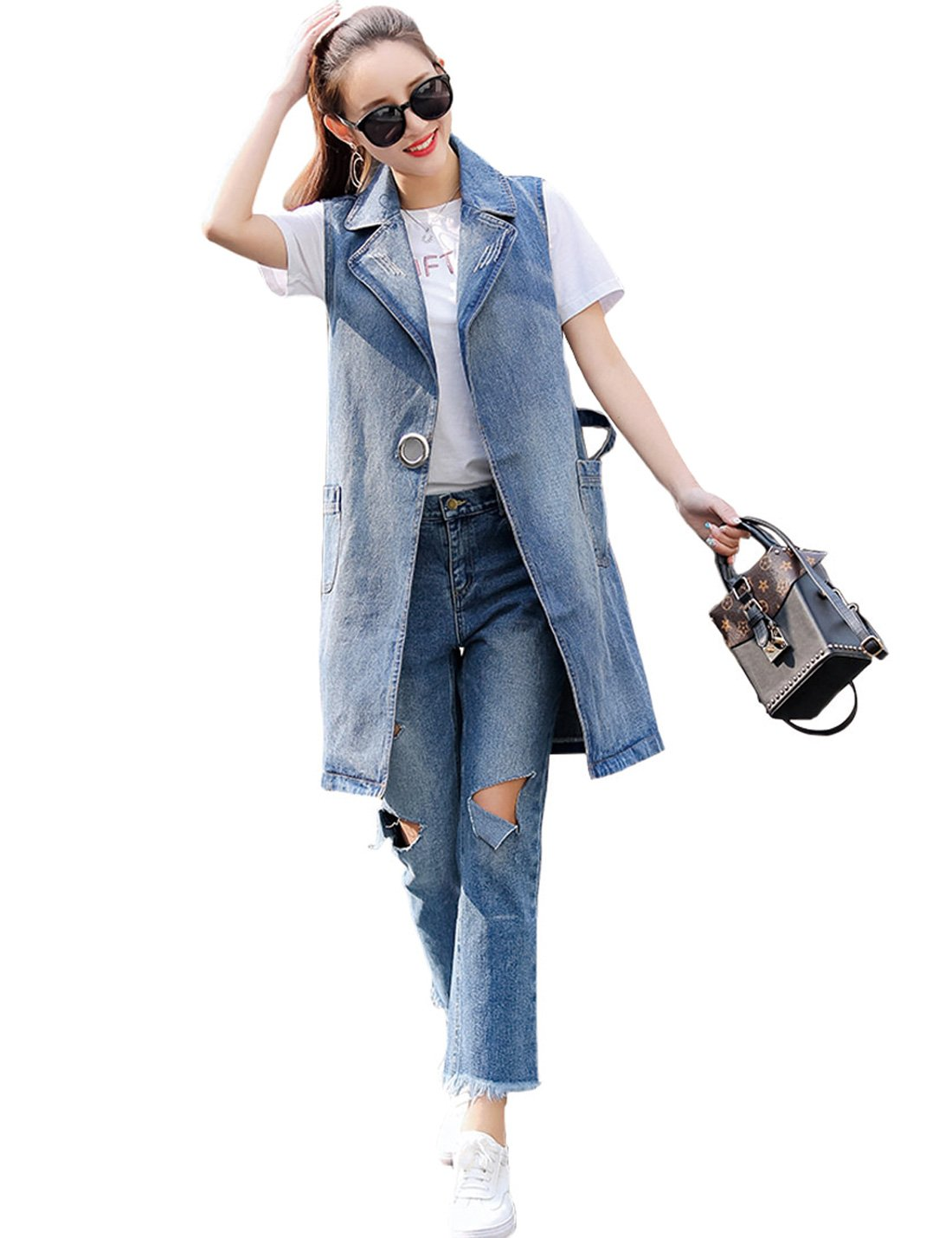 Jenkoon Women's Casual Denim Waistcoat Vest Sleeveless Coat Long Jean Tops with Turn Down Collar (Blue, Large)