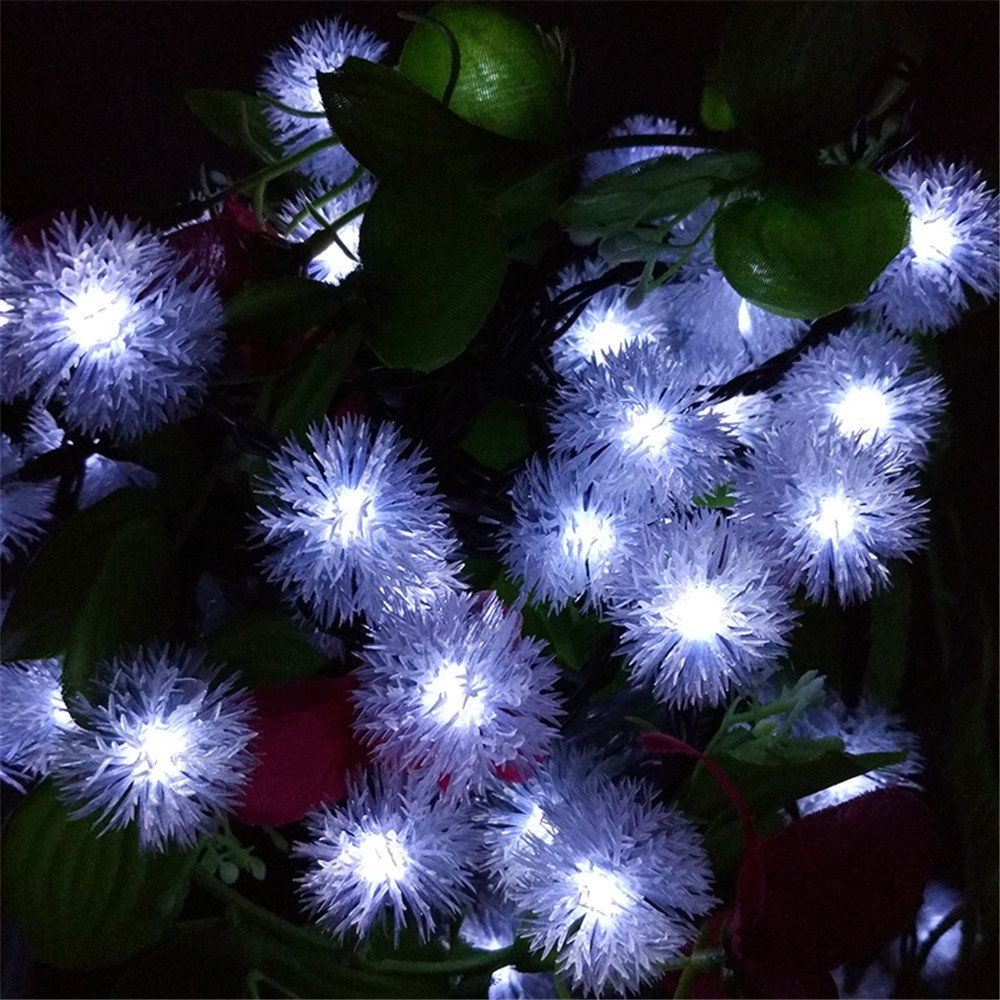 TechCode Solar Lights Indoor, Solar Powered LED Fairy Lamps Waterpoof String Lighting Fur Snow Ball Lights for Indoor/Outdoor Patio, Garden, Home, Wedding, Pathway, Party Decorations (White)