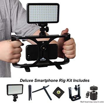 Mini Tripod Compatible with iPhone Samsung and Most Phones for Filmmaking Videomakers Neewer Smartphone Video Rig Kit Smartphone Video Grip Stabilizer with Microphone LED Video Light