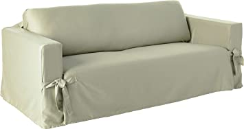 SureFit Cotton Duck Heavyweight Sofa Slipcover, Sage
