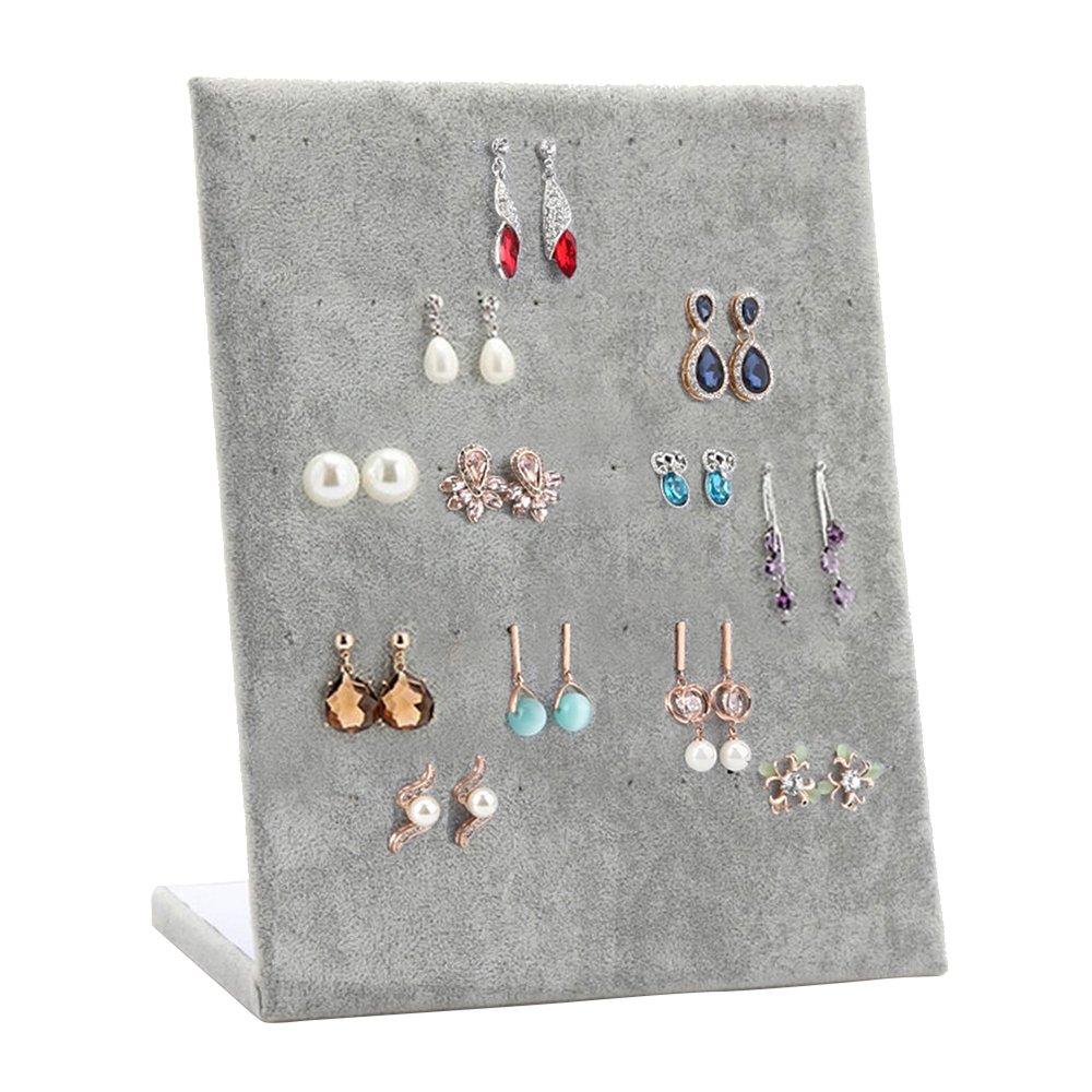Wuligirl 30 Pair Earrings Holder Jewelry Display Earring Stand Storage Organizer Showcase(Ice Velvet)
