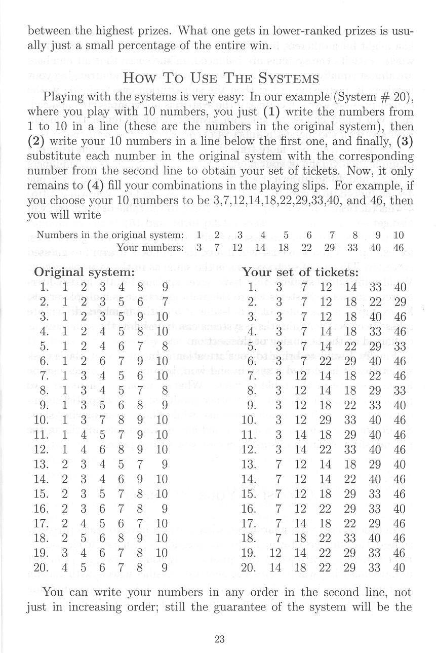 combinatorial lottery systems wheels with guaranteed wins iliya rh amazon ca Gail Howard Lottery Winning Systems Gail Howard Lottery Winning Systems