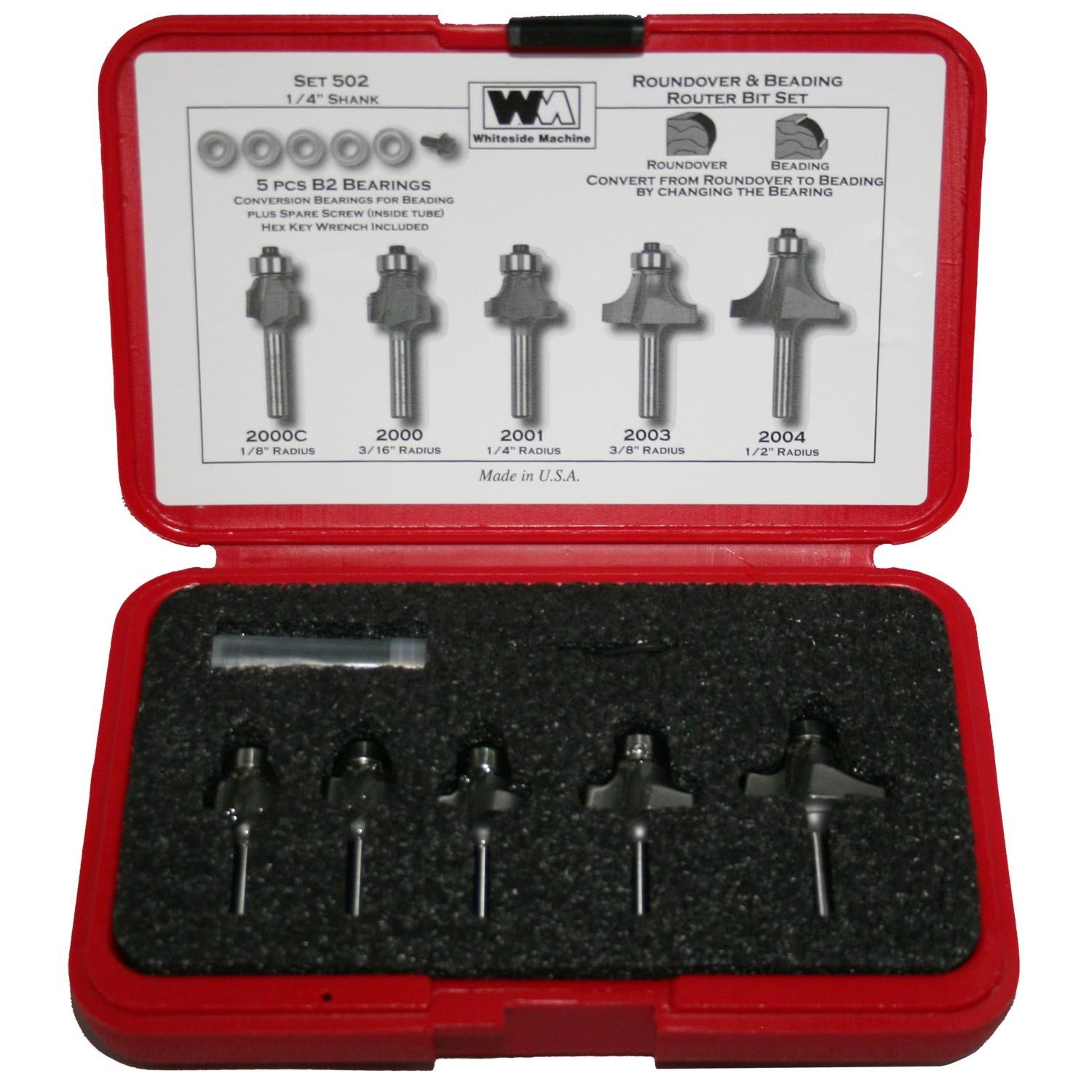 Whiteside Router Bits 502 Round Over and Beading Set with 1/4-Inch Shank