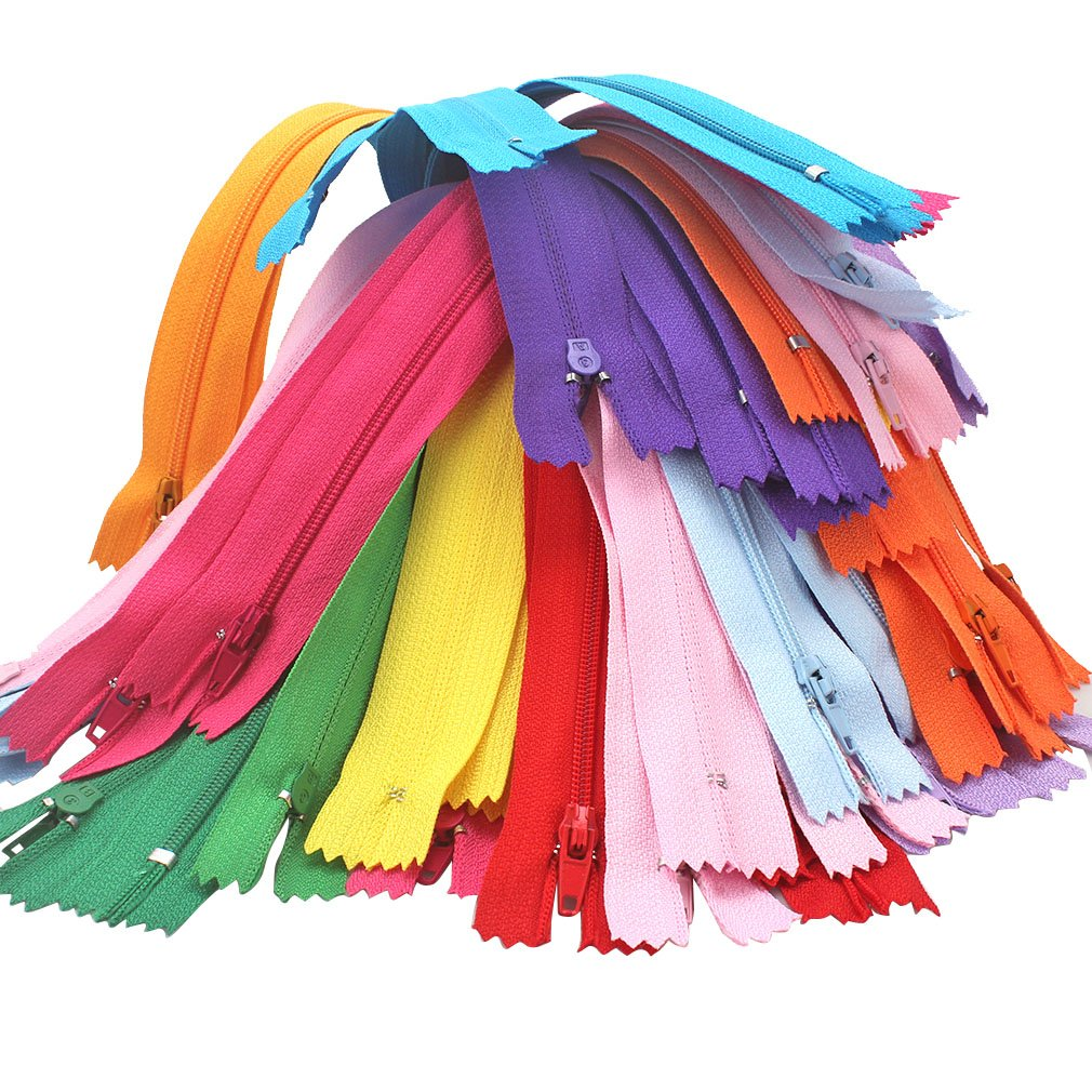 SuPoo 100 Pack 9 Inch Nylon Coil Zippers Tailor Sewer Bulk for Sewing Crafts (20 Colors) 4337006915