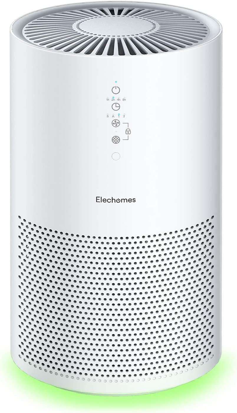 Elechomes EPI236 Air Purifier for Large Room with True H13 HEPA Filter, 22dB Quiet Air Cleaner for Pets, Smokers, Pollen for Bedroom Home Office 280 ft², Smart Air Sensor, Auto Mode, Timer, White