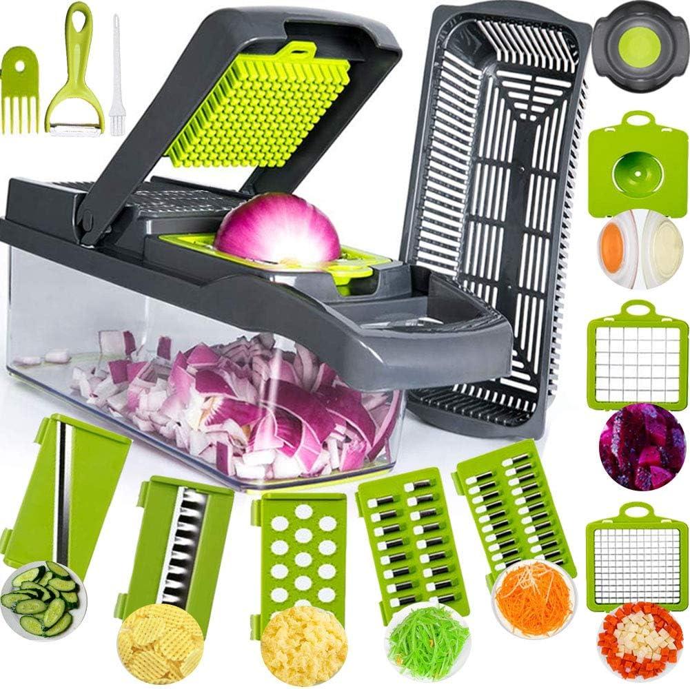 SAIAOBO Mandoline Coupe-Légumes 13 en 1, Trancheur de Légumes, Légumes Râpés, Hachoir de Graterie de Cuisine Multifonction à 7 Lames Réglable pour Trancher, Couper Les Légumes et râper
