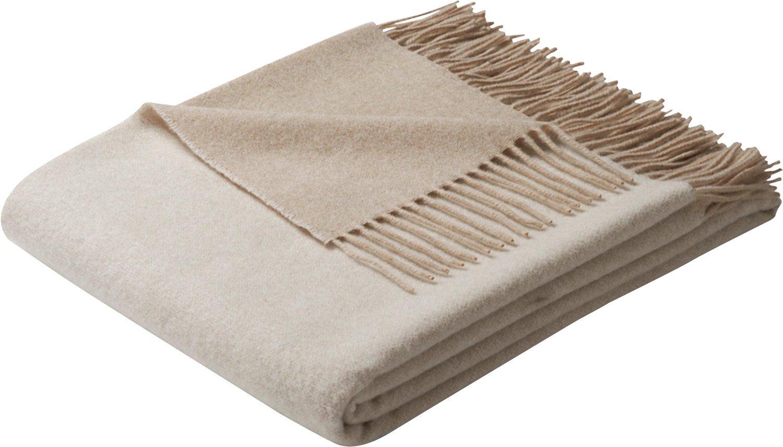 Biederlack Plaid Kaschmirhaar Wolle beige Creme Größe 130x170 cm