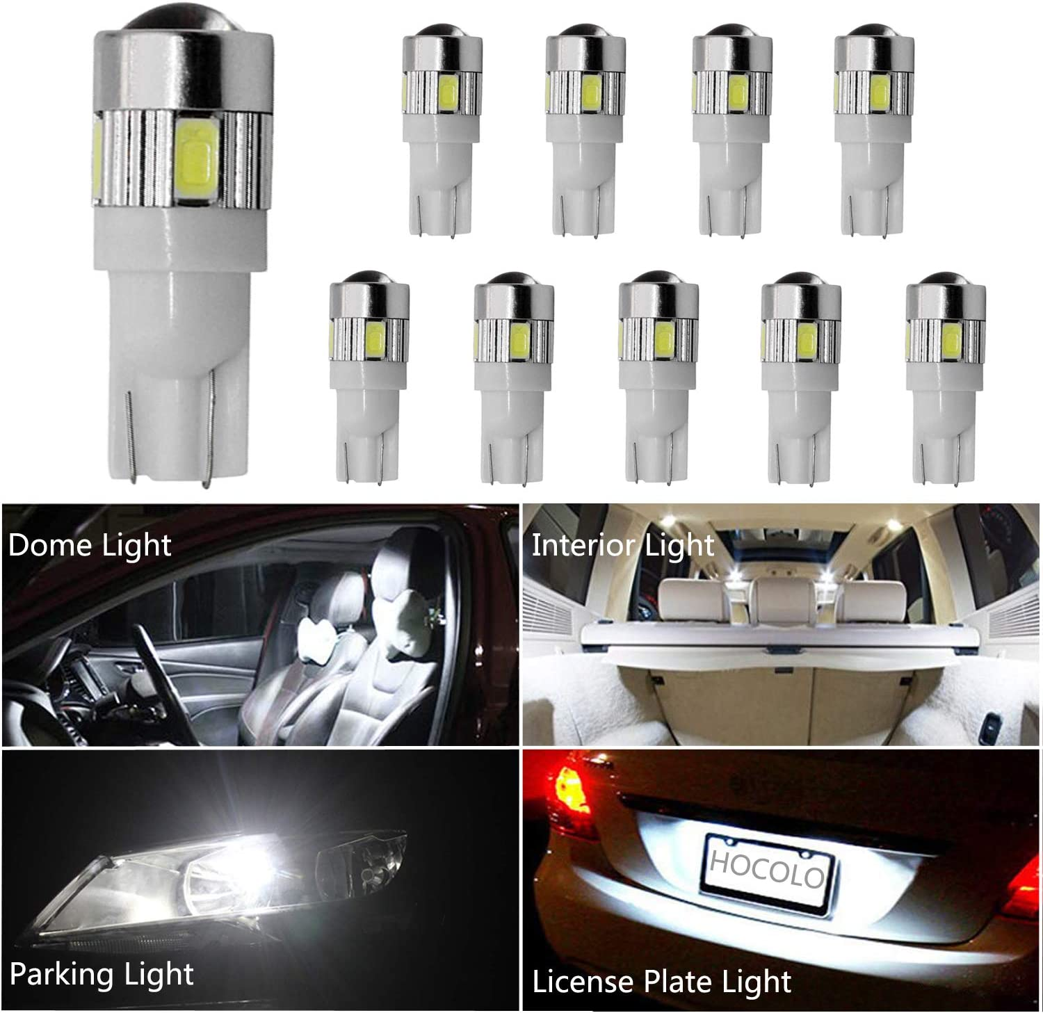 HOCOLO 10x T10 198 194 168 912 921 W5W 2825 White 6000K-6500K Xenon Color Color High Power LED Bulbs For Interior Dome/Map/License Plate/Parking/Door/Trunk Lights (10pcs T10 6-SMD, White)