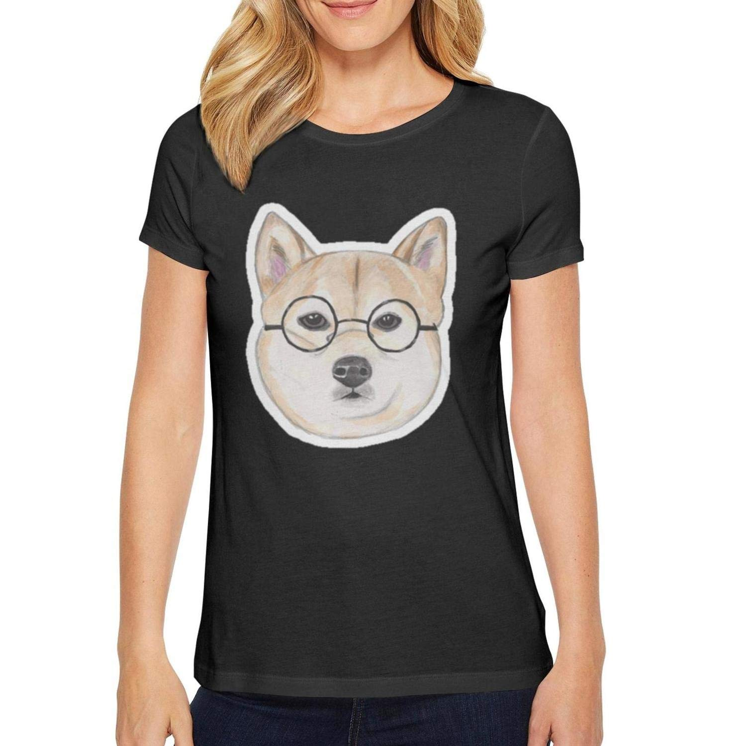 HGTYUS Women Black Tshirts Doge Face Glasses O-Neck Short Sleeve Cotton