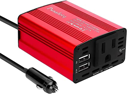 Foval Inversor de alimentaci/ón DC 12 V a 110 V AC Convertidor con cargador dual USB de 3,1 A para coche