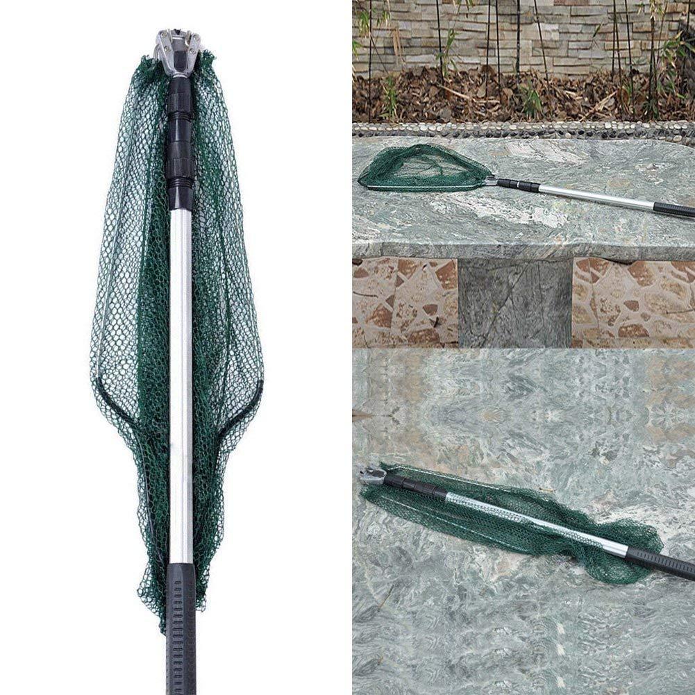 Vert czos88 P/êche Filet 175cm Pliant Triangulaire Aluminium P/ôle /Épuisette Trois Sections P/êche Truite Gear Durable avec Poign/ée Maille Dip Net