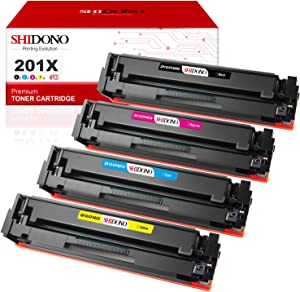 Shidono Compatible Toner Cartridge Replacement for HP 201X 201A Fits with Laserjet Pro MFP M277dw/M277c6/M277n/M252dw/M252n/M274n Printer, 4-Pack [Black/Cyan/Yellow/Magenta]